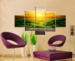 forest canvas print Canada - 5 Piece Free Shipping Hot Sell Modern Home Decorative Wall Painting Art Picture Paint on Canvas Prints Green forest Natural scenery sunlight
