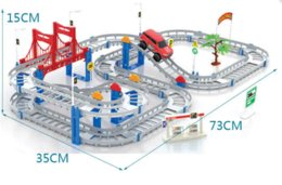 2015 new style hot sell children assembled electric multilayer large size rail car gift set racing track toys free shipping