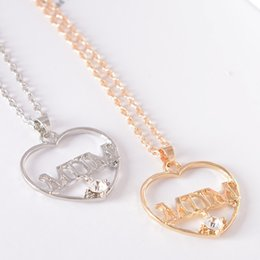 $enCountryForm.capitalKeyWord Canada - Mum Pendant Gold Gift Chain Heart Love hollow diamond Jewelry Necklace Mothers day from daughter Rhinestone Mother 's Day gift