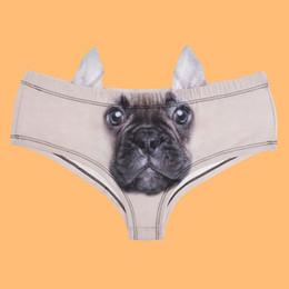 Cute Print Panties Canada - Elliehouse 2017 Fashion Animal Women Ear Underwear cute dog ear panties French Bulldog 3D Printing Sexy Panties Woman Lingerie Underwear