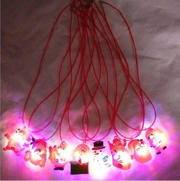 led cloths 2020 - LED Light Up Christmas Necklace Pendants Xmas Flashing Blinking Dress Decor Glow Party Supplies for Children Kids Gift n