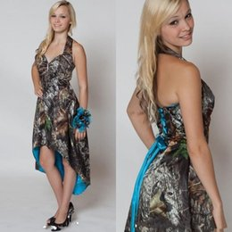 Halter High Low Dama De Honor Baratos-Alta Baja Personalizado Azul Camo vestidos de dama de honor 2017 Halter Neck Spring Maid of Honor Vestidos Corset Lace-Up Volver vestido de estilo country