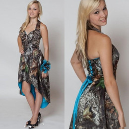 Robes Bleues Très Hautes Pas Cher-High Low Custom Blue Camo Robes de demoiselle d'honneur 2017 Halter Neck Spring Maid of Honor Robes Corset Lace-Up Back Country Style Dress