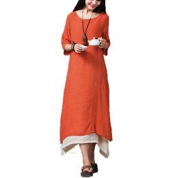 China Wholesale-New Arrival 2016 Summer Autumn Women Cotton Linen Vintage Dress Casual Loose O Neck Boho Long Maxi Dresses Vestidos L-XXL cheap linen boho summer dresses suppliers
