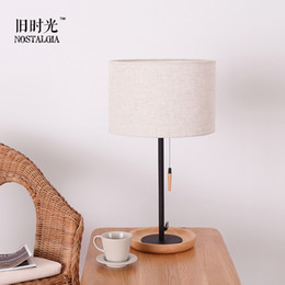 Charming Wholesale Simple Modern Black Iron Wood Bedroom Bedside Lamp PULL Study New  Chinese Cozy Living Room Lamp IKEA