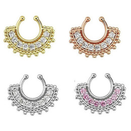 Wholesale Nose Piercing Canada - 10pcs Alloy Nose Hoop Nose Rings Body Piercing Jewelry faux septum ring fake piercing nose with crystal Free shipping N0015