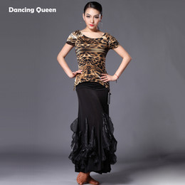 Faldas Cebra Mujeres Baratos-Latin Dance Dress Mujeres Zebra / Leopard / Black / White Circle Cha Cha / Rumba / Samba / Ballroom Dance 2 Pcs TopsSkirt Sexy Dress