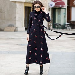 Chanclas Para Niñas Baratos-Las mujeres de lana Trench Coat Lady Flower Slim X-Long abrigos femeninos más el tamaño Outwear Girls Maxi Blends Coat 2018 Spring Women Clothing W283