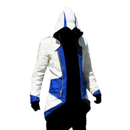 Video Games Costume Canada - Fall-Assassins Creed 3 III Conner Kenway Edward Men Hoodie Jacket Costume Video Game Cosplay Novelty Patchwork Overcoat Plus Size 5XL