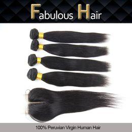 $enCountryForm.capitalKeyWord NZ - Fabulous 5A Natural Color Peruvian Straight 1pc Middle Part 3.5X4inch Hair Closure with 4pcs Virgin Hair Bundles, Cheap Human Hair Extension