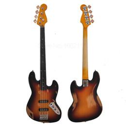 Großhandel Freies verschiffen fabrik benutzerdefinierte tun alte 4 saiten bassgitarre Ebenholz griffbrett Alnus körper Custom Shop Bass Handgemachte Musikinstrumente
