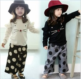 Pantalon De Points Lâches Pas Cher-L'arrivée de nouveaux printemps 2016 filles coton Tenues enfants Cartoon Cat manches longues T-shirt + Hauts Pantalons vrac Pois 2pcs Ensembles enfants Outfit Costume