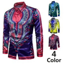AfricAn dresses online shopping - New Brand Clothing Fashion Shirt Male Flax Dress Shirts Slim Fit Turn Down Men Long Sleeve Mens African Printed Shirt Big Sizes