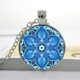 Glass Art Prints Canada - Dazzling Blue Kaleidoscope Mandala Necklace Geometric Floral Art Print Necklace Pendant Glass Cabochon Necklace M17