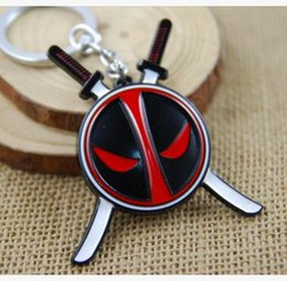Movie Steel Canada - Deadpool Keychains Blister Packing Anime Cartoon X-men Deadpool Pendant Keychain Metal Stainless Steel Key Ring Alloy Keyrings Toys Gifts