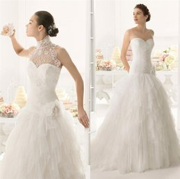 $enCountryForm.capitalKeyWord Canada - New Wedding Dresses Bridal Gown With A Line Strapless Detachable Jacket High Neck Cascading Ruffles Tulle Sweep Train