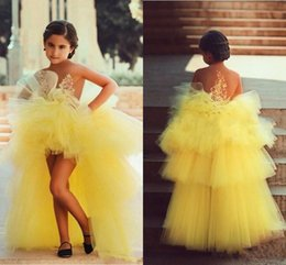 $enCountryForm.capitalKeyWord Canada - 2015 Yellow Kids Formal Wear Custom Made Strapless A-line High Low Organza Tulle Little Pageant Gowns with Appliques 2015 Flower Girl Dress