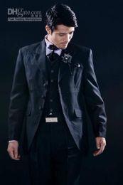 Black Suit Ivory Waistcoat Canada - 3 Buttons Embroidery Groom Tuxedos Peak Lapel Groomsman Suits (Jacket+Pants+Tie+Waistcoat) G691