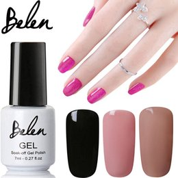 Barato Venda De Lâmpada De Prego Led-Atacado- Belen 7ml Pure Black Color UV Nail Gel Verniz polonês UV LED Gel Base Top Coat UV Lâmpada Nail Art Design Hot Sale Gel de unha Lacera