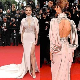 0829524070b Cannes Film Festival Cheryl Fernandez Celebrity Red Carpet Prom Dress  Backless Lace Side Slit Formal Evening Party Gowns 2019