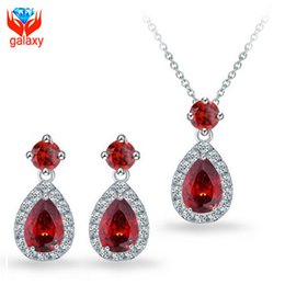 Red Cz Earrings Canada - 2015 New Trendy Wedding Accessories 18K White Gold Plated Top Quality Water Drop Red Swiss CZ Necklace & Earrings Jewelry Sets Women ZSS12