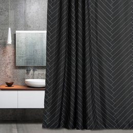 aimjerry waterproof polyester fabric bathroom black shower curtain ecofriendly london curtains inch 12 hooks
