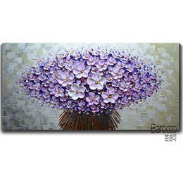 Discount modern canvas art purple flower painting - 100% Hand Painted Textured Purple Flowers Oil Painting on Canvas Modern Fashion Home Art Wall Decoration