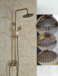 """$enCountryForm.capitalKeyWord NZ - Wholesale And Retail Antique Brass Bath 8"""" Rainfall Shower Faucet Set Wall Mount Mixer Tap with Hand Spray"""