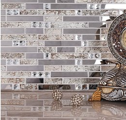 Crystal glass mosaic tiles living room tiles TV background wall stickers Building Materials on Sale