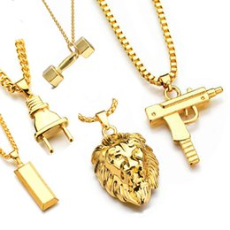 Necklaces Pendants Australia - New fashion Uzi Gold Chain Hip Hop Long Pendant Necklace Men Women Fashion Brand Gun Shape Pistol Pendant Maxi Necklace HIPHOP Jewelry.
