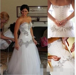 Castle Bling Wedding Dress Canada - 2016 Plus Size Tulle Sheer Wedding Dresses A Line Backless Sweetheart Bling Bling Crystal Beads Lace Up Chapel Train 2015 Beach Bridal Gowns