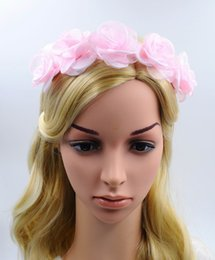 $enCountryForm.capitalKeyWord Canada - New Women Wedding Floral Crown Pink Flower Garlands Girl Lovely Hairband Tiara Festival Accessories Beach Headbands for Wholesale