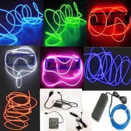 Discount neon rope wire car - 5M Flexible Neon LED Light Glow EL Wire String Strip Rope Tube Car Dance Party&Controller Decorative Strip Lights n687-A