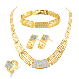 Gold bracelet sets dubai online shopping - Bridesmaid Jewelry Set Vintage Necklace Bracelet Earrings Rings Like Indian African Dubai k Gold Jewelry Sets Wedding Party Jewellery Sets
