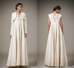 $enCountryForm.capitalKeyWord NZ - 2017 Vintage Empire Lace Applique V Neck Evening Dresses With Long Sleeve Jacket Satin Ruffles Floor Length Formal evening wears