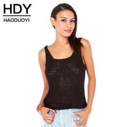 Barato Sexo Profundo-HDY Haoduoyi 2017 Mulheres Tank Top Sex Deep V Neck Hollow Out Sexy Vest Streetwear Backless Off Shoulder Casual Knitted Pullovers q1109