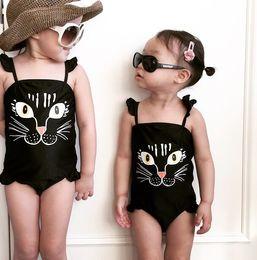 Children Hot Swimsuit Canada - 2018 summer new girls one-piece swimwear cartoon printed kids hot spring swimsuit cute bikini Condole belt children bathing suit 90-130 T580