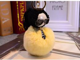 $enCountryForm.capitalKeyWord Australia - South Korea fashion ornament galeries lafayettekey pendant to the rabbit hair bulb is hanged adorn hair bulb key chain