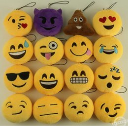 Figure Emotions NZ - New KeyChains 8cm Emoji Smiley Small pendant Emotion Yellow QQ Expression Stuffed Plush doll toy bag pendant for Christmas gift