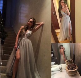 $enCountryForm.capitalKeyWord Canada - Chic Paolo Sebasti Prom Dresses Illusion Neck Rhinestone Beaded Evening Dresses Party Gowns Front Slit Berta Best Formal Dresses Low Back