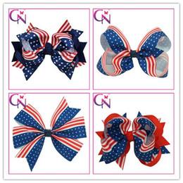 $enCountryForm.capitalKeyWord Canada - fedora Large Strip Hair Bows American Flag Printing Clip Alligator Hairpin New Fashion Handmade Headwear Accessories Bow