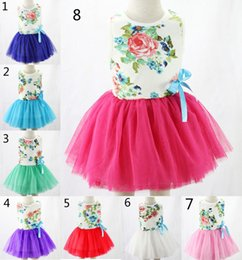Discount wholesale candy korean - Summer Girls 8 Color Lace Tutu Dress 2015 new Korean lovable Girls princess Candy color sleeveless Lace Bowknot dress ch