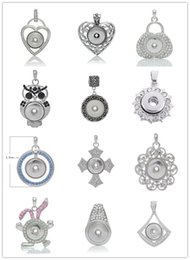 Valentines Gifts For Diy Canada - Mix style Vintage Noosa charms Pendant heart owls with crystal Snap Noosa for Necklace and bracelets DIY Jewelry Valentine,s day gift N56