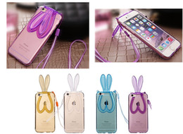"""phone holder lanyard 2019 - 2PCS Lovely New TPU soft Rabbit ears Holder with Lanyard Phone Case fit for Iphone6plus 5.5"""" discount phone holder"""