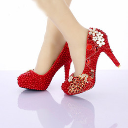 inch heels pumps Australia - 2019 Red Pearl Bridal Shoes New Design Phoneix Girl Wedding Shoes 4 Inch High Heel Anniversary Party Pumps Birthday Party Shoes
