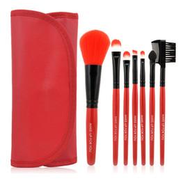 $enCountryForm.capitalKeyWord Canada - Wholesale-9 Colors Choose Brand New Professional 7 pcs Makeup Brush Set tools Toiletry Kit Wool Brand Make Up Brushes Set Case