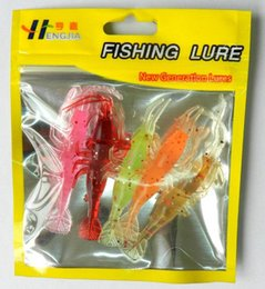Luminous Bait Worms Canada - NEW luminous Simulation Squid Fishing Lure Bionic plastic Soft Shrimp Prawn baits for fershwater fishing 5pc lot