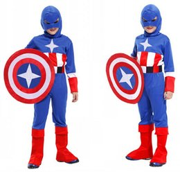 Captain America Halloween Costumes Canada - Superhero Captain America Cosplay Costume For Kids Marvel's The Avengers 'Steve' Rogers Halloween Carnival Stage Party Clothing