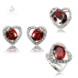 Copper Earrings Canada - First class products MN858set sz#6 7 8 9 Cute Red Cubic Zirconia Best Sellers Copper Rhodium Plated Casual heart set (ring earring pendant)