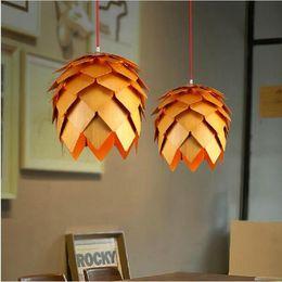 Hall oaks online shopping - New design Dia cm OaK Wooden Pineal Modern Creative Handmade Wood E27 Hanging Pendant Lamp AC85 V for living room bedroom decoration